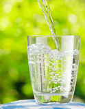 Glass of water on nature background Stock Photos