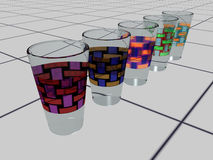 Drink glasses on tiles - 3D Stock Images