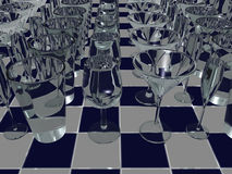 Drink glasses on tiles - 3D Stock Photos