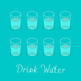 Drink 8 glasses of water. Cute face with eyes Healthy lifestyle concept. Infographic. Flat design. Stock Photography