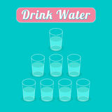 Drink 8 glasses of water. Healthy lifestyle concept. Pyramid set. Infographic. Flat design. Royalty Free Stock Photos