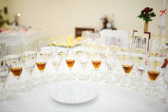 Drink glasses at a wedding reception Royalty Free Stock Images