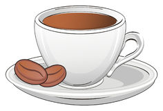 Drink with grain. Cup of small coffee with two grain on the saucer Stock Image