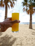 Drink hand beach Stock Photo