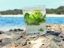 Drink. Home made mojito on the beach Stock Photo