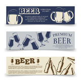 Drink horizontal banners template with beer mugs, glasses and bottles. Banner with beer beverage bottle illustration Stock Photos