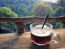 Drink Hot black coffee cup on the morning everyday. Drink Hot black coffee cup on the morning everyday at Chiangmai province Northern Thailand Royalty Free Stock Images