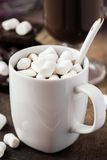 Drink hot chocolate with marshmallows in white cup Royalty Free Stock Images