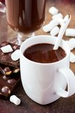 Drink hot chocolate with marshmallows in white cup Royalty Free Stock Photos