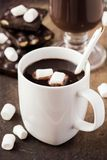 Drink hot chocolate with marshmallows in white cup Stock Photography