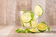 Drink for hot summer days. Fresh lime and lemon lemonade. Select. Ive focus Stock Photos