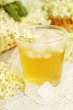 Drink with ice. A cold refreshing summer drink made from elder flowers and mint Stock Photo