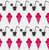 Drink and ice-cream seamless pattern background Stock Images