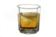 Drink with ice, it is isolated. Glass with a drink, it is photographed on a white background Royalty Free Stock Image