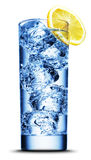 Drink with ice and lemon slice close-up Royalty Free Stock Images