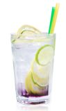 Drink with ice and lime slice Royalty Free Stock Image