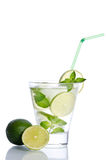 Drink with ice, mint and lime Stock Photo