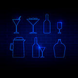 Drink icon neon Style vector illustration Royalty Free Stock Photo