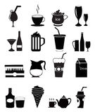 Drink Icons. 16 drink and alcohol icons set in black Vector Illustration