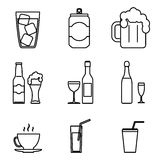 Drink Icons Line Art Isolated Set Vector Illustration Royalty Free Stock Photos