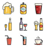 Drink Icons Line Art Isolated Set Vector Illustration Royalty Free Stock Photo