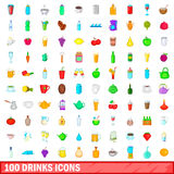 100 drink icons set, cartoon style. 100 drink icons set in cartoon style for any design vector illustration Stock Photo