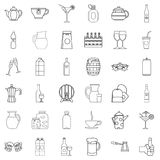 Drink icons set, outline style Stock Image