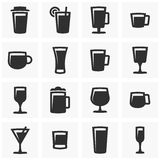 Drink icons set. A set of vector images of glasses of alcohol, cocktails, beer and other beverages Stock Photo