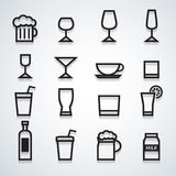 Drink icons. Wine set water glass Royalty Free Stock Photo
