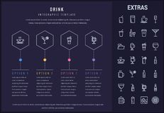 Drink infographic template, elements and icons. Drink options infographic template, elements and icons. Infograph includes line icon set with bar drinks Stock Photo