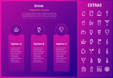 Drink infographic template, elements and icons. Drink options infographic template, elements and icons. Infograph includes line icon set with bar drinks Royalty Free Stock Image
