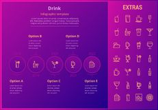 Drink infographic template, elements and icons. Stock Images