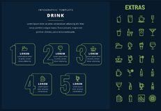 Drink infographic template, elements and icons. Drink options infographic template, elements and icons. Infograph includes line icon set with bar drinks Stock Photography
