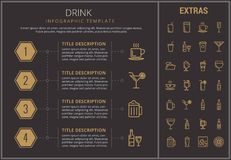 Drink infographic template, elements and icons. Drink infographic timeline template, elements and icons. Infograph includes numbered options, line icon set with Royalty Free Stock Photos