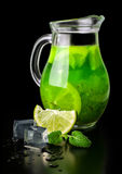 Drink of kiwi and lime ice and mint Royalty Free Stock Image