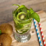 Drink with Kiwi. Selective focus. Royalty Free Stock Photography