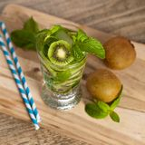 Drink with Kiwi. Selective focus. Royalty Free Stock Images