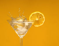 Drink with lemon. Cocktail short drink with ice and lemon Royalty Free Stock Photos
