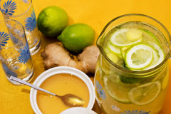 Drink with lemon, ginger and honey. Royalty Free Stock Photos