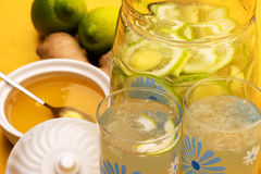Drink with lemon, ginger and honey. Stock Images