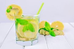 Drink with lemon, ginger and mint. Royalty Free Stock Photo