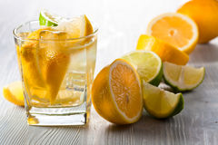 Drink with lemon and ice Royalty Free Stock Photography
