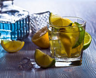 Drink with lemon and ice Royalty Free Stock Photos