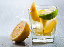 Drink with lemon and ice Stock Photos