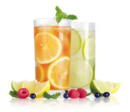 Drink with lemon, lime and mint Stock Photos