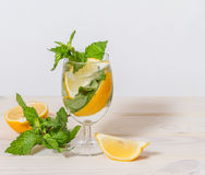 Drink with lemon and mint. Refreshing nonalcoholic drink with lemon and mint Stock Photo
