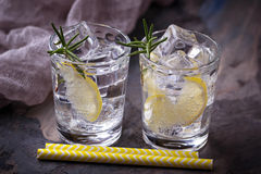 Drink with lemon and rosemary. Selective focus Royalty Free Stock Photos