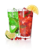 Drink with lime and cranberry Royalty Free Stock Images
