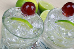 Drink with lime and grape Stock Photo