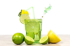 Drink with lime and lemon Royalty Free Stock Photos